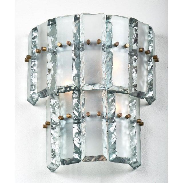 Art Deco Pair of Vintage Murano Glass Fontana Arte Sconces For Sale - Image 3 of 8