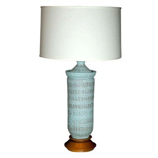 "1960s Vintage Pale Blue ""Lava"" Ceramic Lamp For Sale"