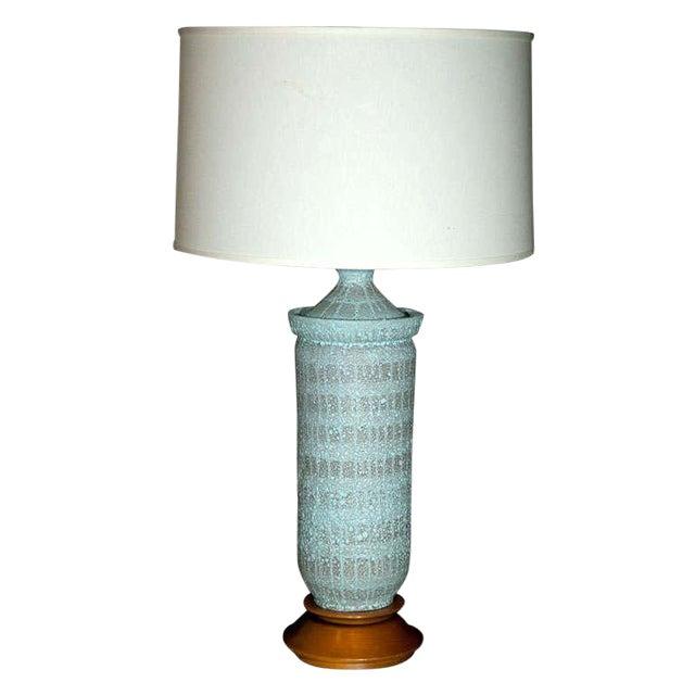 """1960s Vintage Pale Blue """"Lava"""" Ceramic Lamp For Sale"""