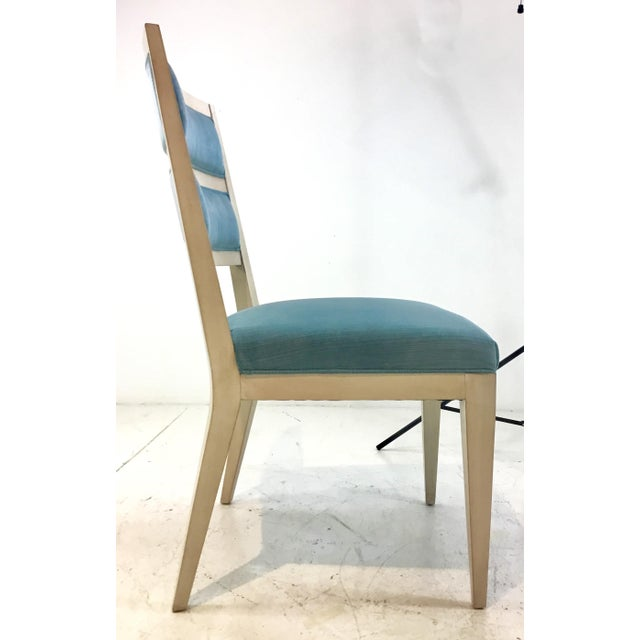 Hickory White Modern Turquoise Velvet Greek Key Dining Chairs Set of Four For Sale In Atlanta - Image 6 of 11