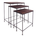 Image of Industrial Wood & Iron Nesting Tables - Set of 3 For Sale