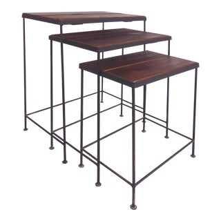 Industrial Wood & Iron Nesting Tables - Set of 3 For Sale