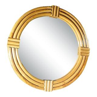 1940s Large Three-Strand Round Rattan Mirror For Sale