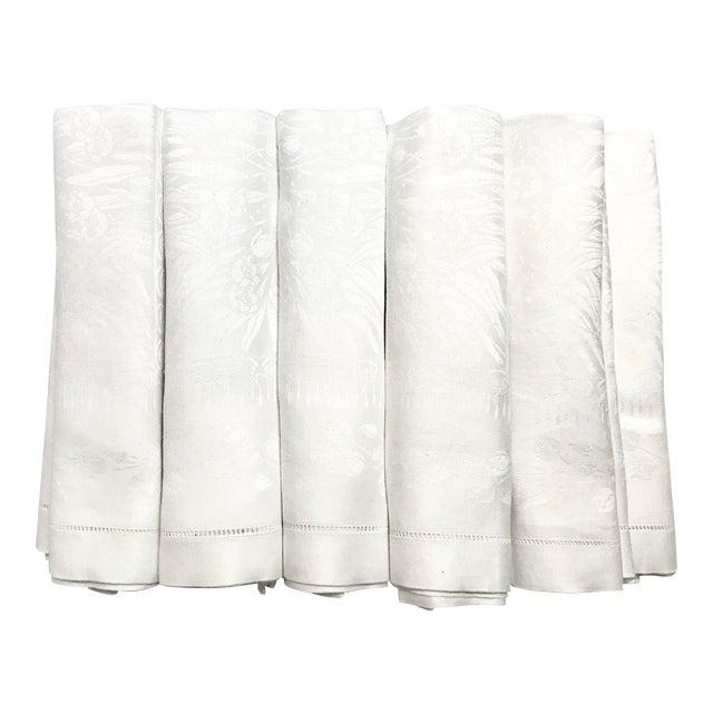 Set of 11 White Linen Damask Dinner Napkins For Sale