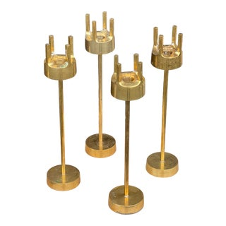 1970's Tall Brass Brutalist Candle Holders - Set 4 For Sale