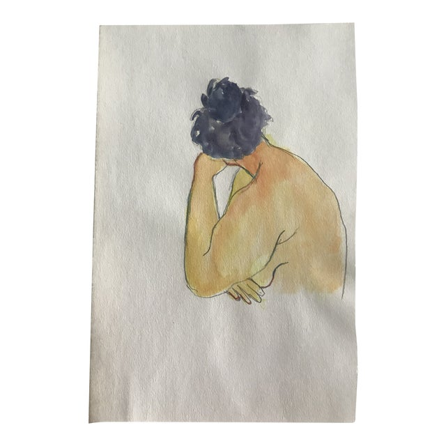 1980s Vintage Female Nude Watercolor Painting For Sale