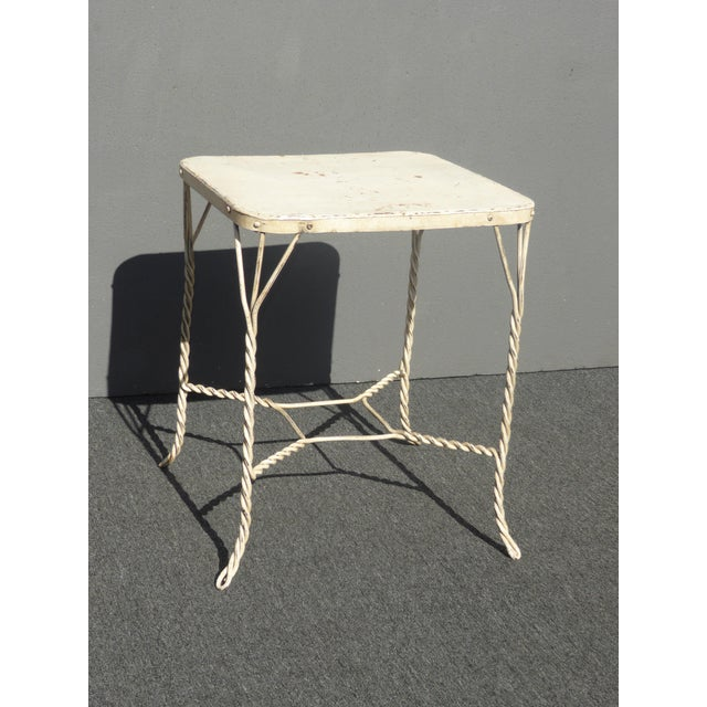 Vintage Farmhouse Industrial White Iron Table & Four Heart Shaped Chairs Set For Sale - Image 10 of 12