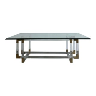 """Charles Hollis Acrylic and Brass """"Metric Line"""" Coffee Table For Sale"""