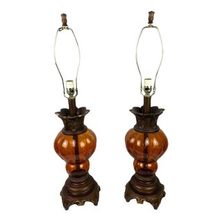 Vintage Mid-Century Amber Glass Balloon Shaped Lamps - a Pair For Sale