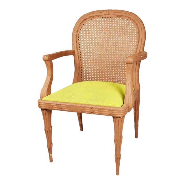 Faux Bois Chair With Cane Back and Green Upholstered Armchair For Sale