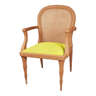 Hollywood Regency Faux Bois Dining Armchair With Cane Back and Bright Green Upholstered Seat For Sale