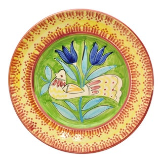 Vintage Lamas Tulips and Dove Pottery Charger, Italy For Sale