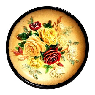 1950s W.H. Bossons Signed English Roses Chalk-Ware Display Plate For Sale