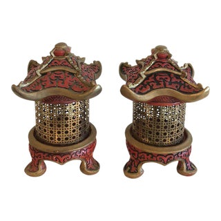 Vintage Pagoda Table Lamps Lanterns - a Pair