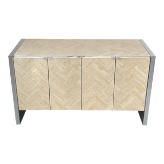 Ello Travertine and Chrome Four Door Cabinet Sideboard For Sale