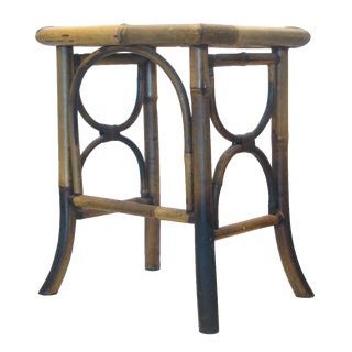 Vintage Scorched Bamboo Accent Table For Sale