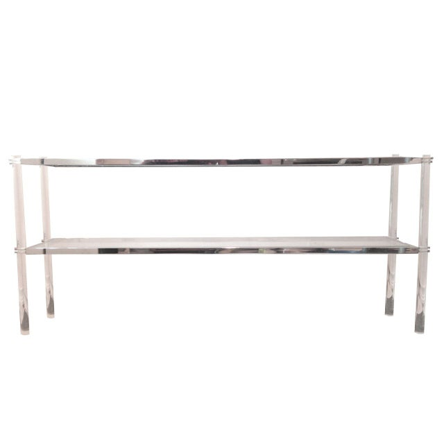 Lana Lucite & Chrome Console Table - Image 2 of 2