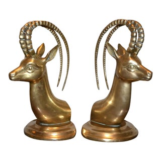 1970s Vintage Jack Housman Solid Brass Ibex Gazelle Bookends- A Pair For Sale