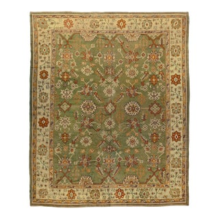 Antique Green Turkish Oushak Rug, 10'11 X 13'10 For Sale