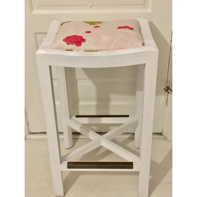 Lee Industries White Maple & Pink Floral Fabric Bar Stool For Sale - Image 5 of 6