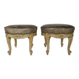 French Carved Walnut Leather Upholstered Stools, Circa 1930s, Pair For Sale