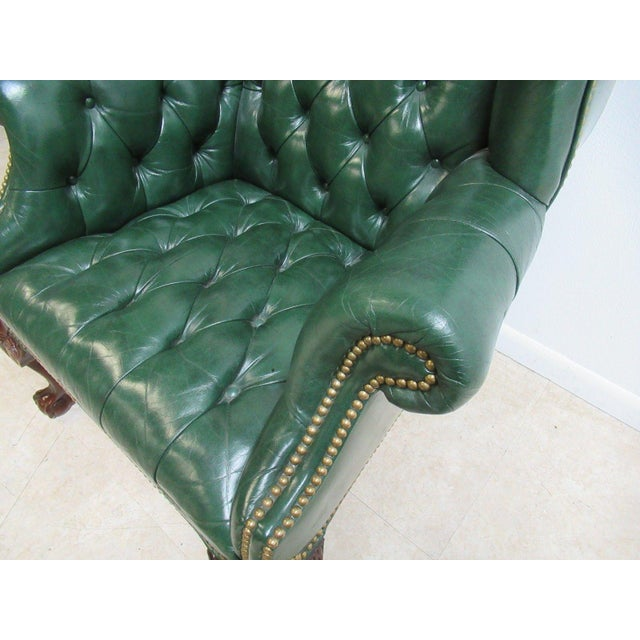 Vintage Chesterfield Style Tufted Ball & Claw Chippendale Wingback Chair - Image 8 of 11
