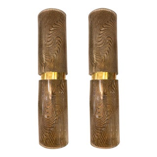 Modern Italian Pair of Smoked Frosted Murano Glass & Brass Wall / Ceiling Lights For Sale