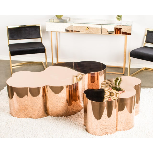 luca rose gold coffee table chairish. Black Bedroom Furniture Sets. Home Design Ideas