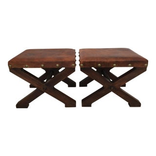 Rustic Modern X-Shaped Ottomans - a Pair