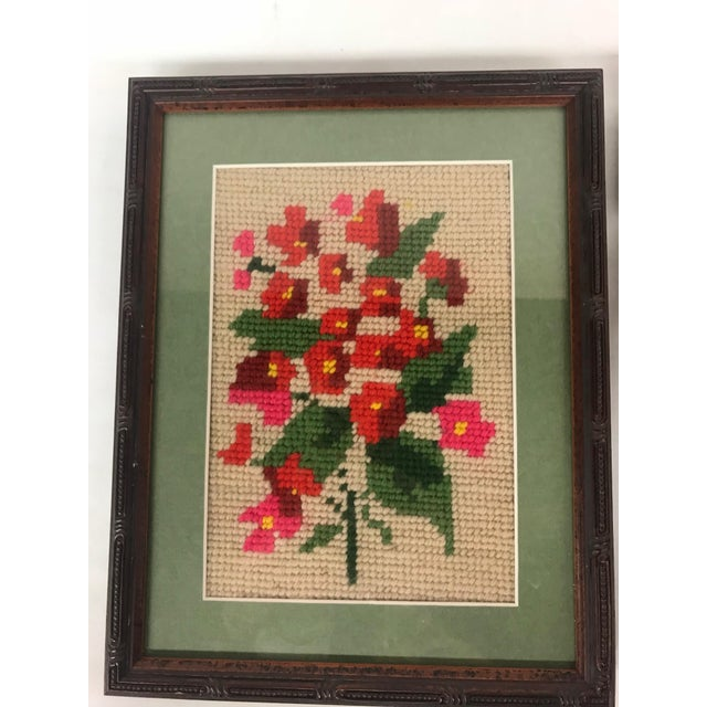 Cottage Framed Pink/Purple Floral Needlepoints - A Pair For Sale - Image 3 of 5