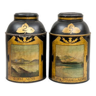 Pair Scottish Tole Tea Canisters, Circa 1850 For Sale