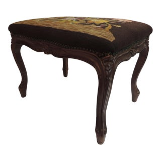 English Floral Tapestry Carved Wood Ottoman