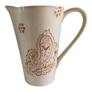 Glazed Cream Terracotta Vintage Drink Pitcher For Sale
