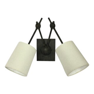Currey and Company Compass Double Arm Modern Industrial Wall Sconce Light For Sale