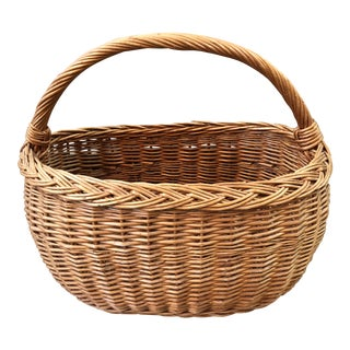 Wicker French Market Basket For Sale