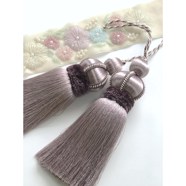 Lavender Key Tassel With Cut Velvet Ruche - a Pair For Sale In New York - Image 6 of 12