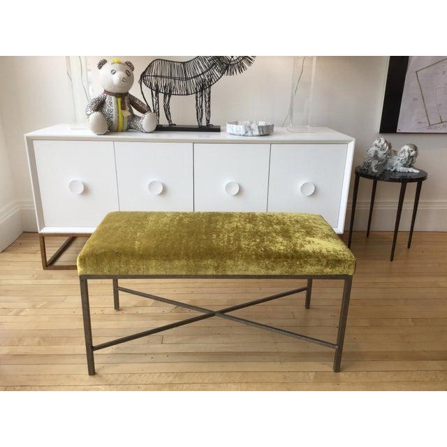 Custom Chartreuse Velvet Upholstered Bench - Image 6 of 6