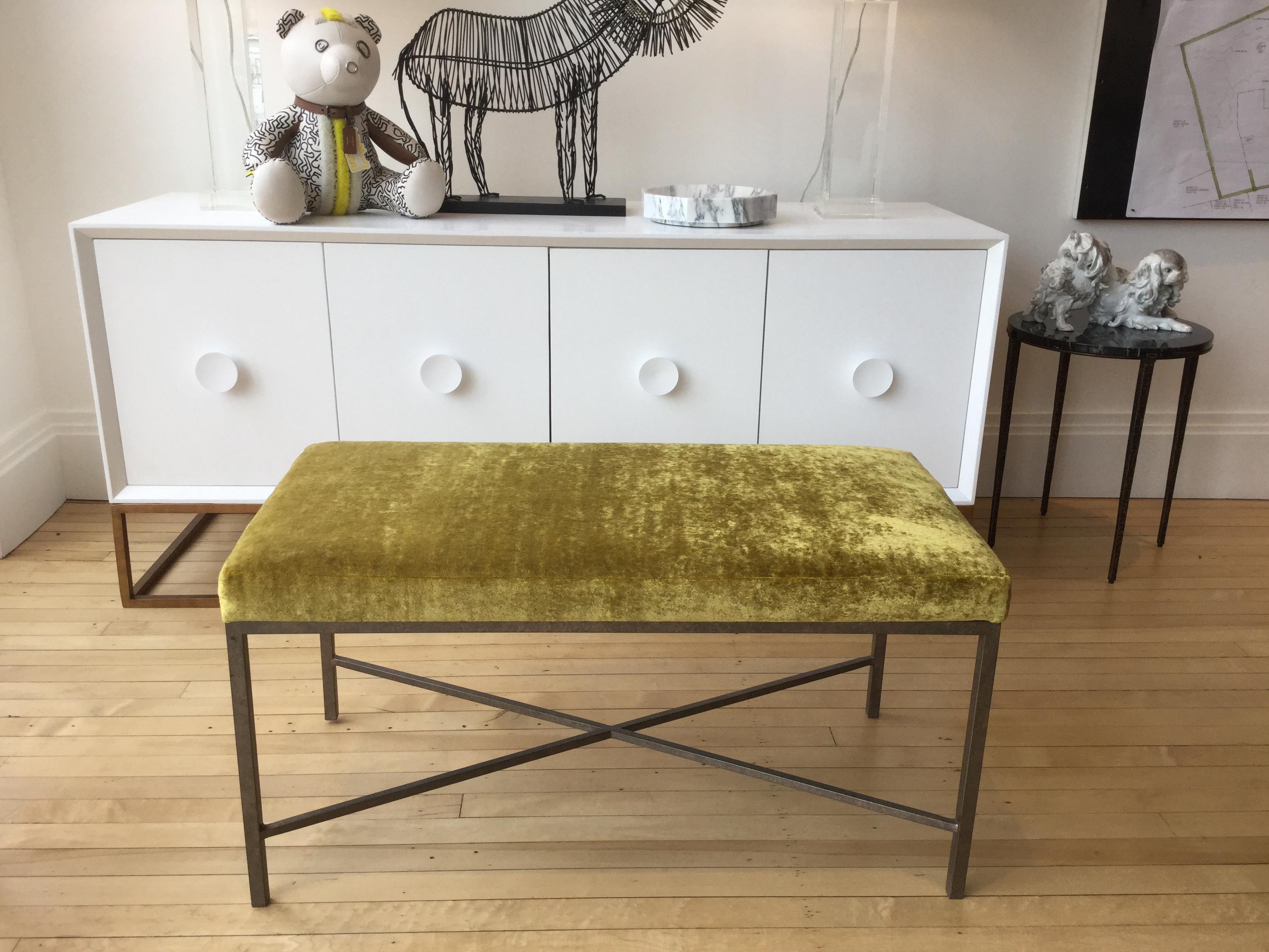 Custom Chartreuse Velvet Upholstered Bench For Sale In New York   Image 6  Of 6