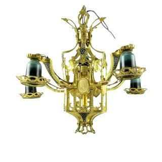Early 20th Century Art Nouveau Deco Gothic Cast Brass Iron Chandelier Light Fixture For Sale