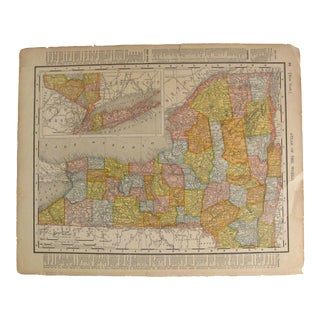 Antique Map of New York & Connecticut C. 1909 For Sale