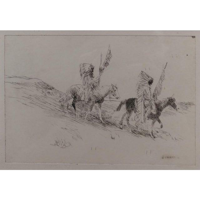 Americana Edward Borein - Two Indian in Full Headdress on Horseback -Print For Sale - Image 3 of 10