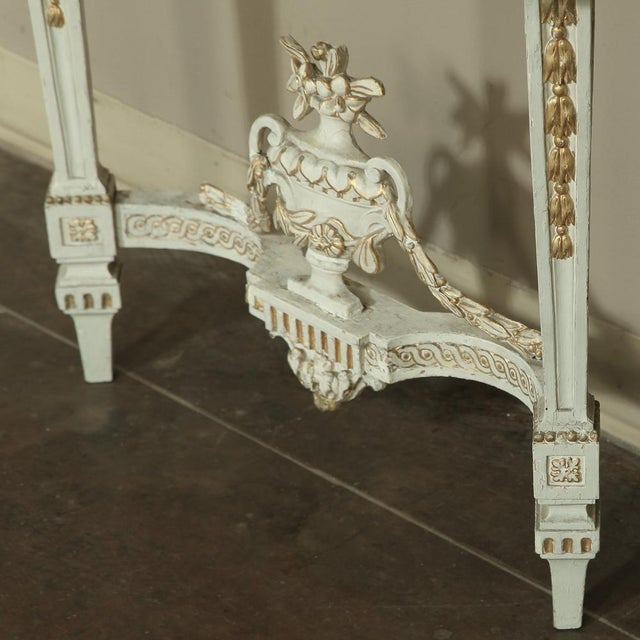 19th Century Swedish Neoclassical Marble-Top Painted Console For Sale - Image 10 of 12