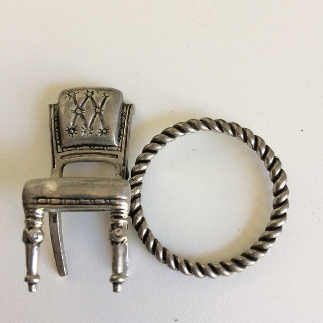 8 Vintage Pewter Victorian Chair Napkin Rings For Sale - Image 4 of 12