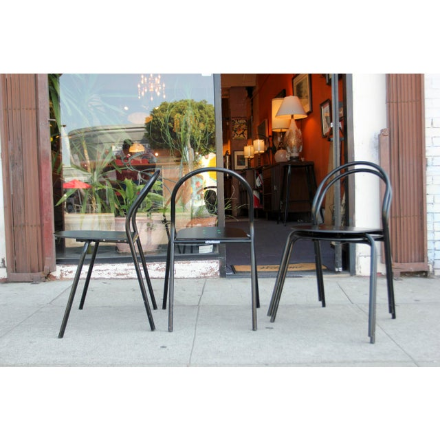 Metal 1980s Modern Black Metal Side Chairs - Set of 4 For Sale - Image 7 of 12