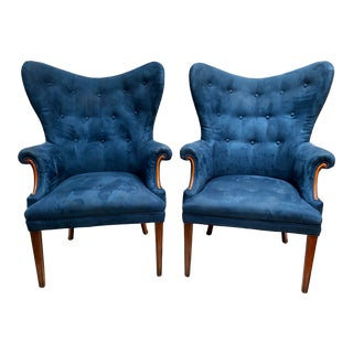 Vintage Mid Century Butterfly Wing Back Chairs - a Pair For Sale