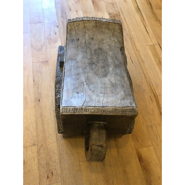 African 1960s Vintage African Wooden Crocodile Stool For Sale - Image 3 of 9