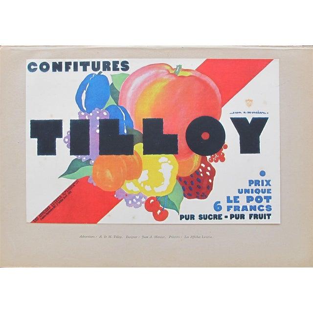 1920s British Art Deco Tip-On Poster, Confitures Tilloy For Sale