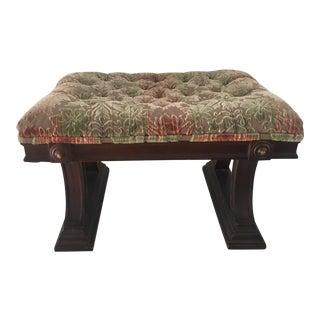 Mid Century Modern Sculpted Velvet Mahogany Base Bench