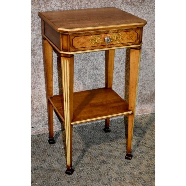 Antique French Satinwood Side Tables with Painted Designs - a Pair For Sale In Philadelphia - Image 6 of 13