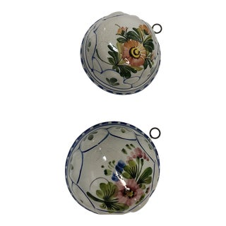 Pair Crackled Porcelain Decorative Wall Molds For Sale